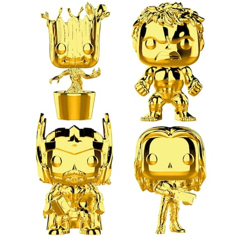 Funko POP! Marvel Studios 10 Gold Chrome Collectors Set 3 - Groot, Hulk, Thor, Gamora