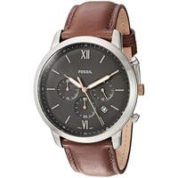 3f821c6dbda Fossil Men s FS5408 Neutra Chronograph Grey Dial Light Brown Leather Watch