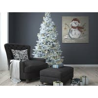 Linen Snowman I -Gallery Wrapped Canvas