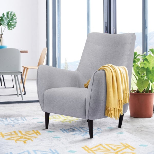 Strick & Bolton Blanche Mid-century Modern Grey Armchair - 37 inches high x 31 inches wide x 33 inches deep