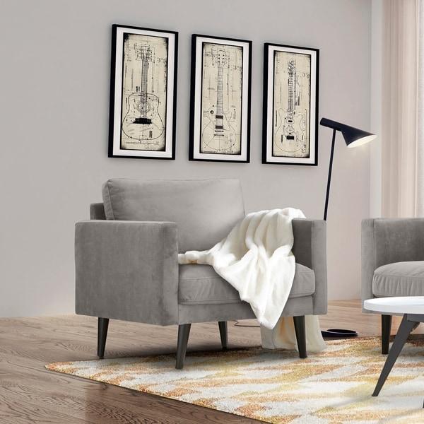 Carson Carrington Hattarvik Mid-Century Modern Grey Fabric Track Arm Chair - 32 inches high x 36 inches wide x 37.5 inches deep