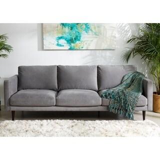 Carson Carrington Hattarvik Mid-Century Modern Grey Fabric Track Arm Sofa - 32 inches h x 90 inches w x 37.5 inches d