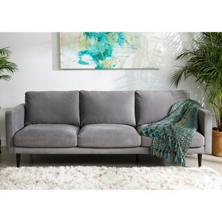 Mid-Century Modern Grey Fabric Track Arm Sofa - 32 inches h x 90 inches w x 37.5 inches d