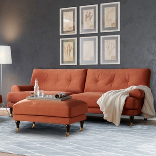 Clay Alder Home Quebec Contemporary Rolled Arm Loveseat - 31 inches high x 72 inches wide x 38.5 inches deep