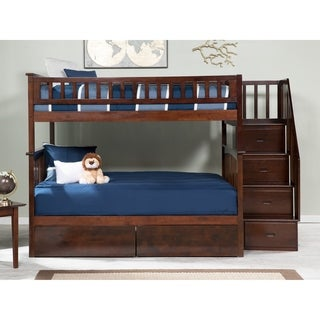Columbia Staircase Bunk Bed Full over Full with 2 Urban Bed Drawers in Walnut