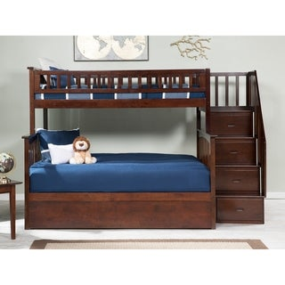 Columbia Staircase Bunk Bed Twin over Full with Twin Size Urban Trundle Bed in Walnut