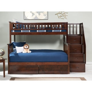 Columbia Staircase Bunk Bed Twin over Full with 2 Urban Bed Drawers in Walnut