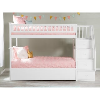 Columbia Staircase Bunk Bed Twin over Twin with Twin Size Urban Trundle Bed in White