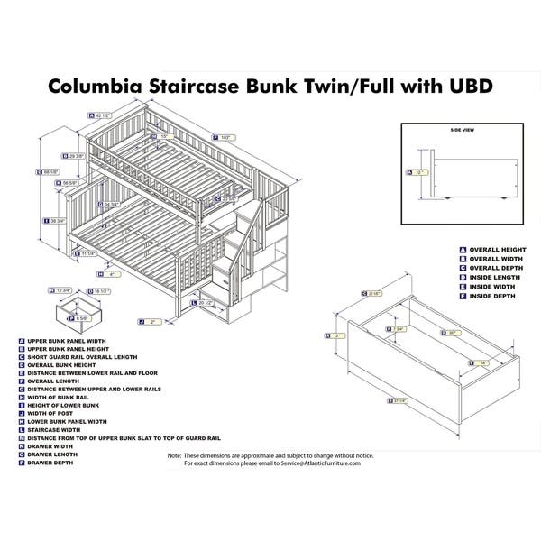 Columbia Staircase Bunk Bed Twin Over Full With 2 Urban Bed Drawers In White On Sale Overstock 24148351