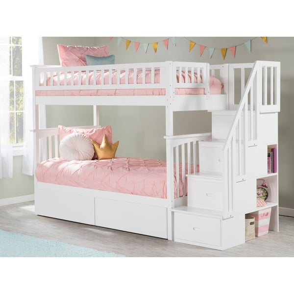 Columbia Staircase Bunk Bed Twin over Twin with 2 Urban Bed Drawers in White