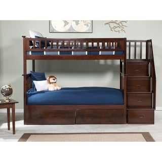 Columbia Staircase Bunk Bed Twin/Twin with 2 Bed Drawers-Walnut