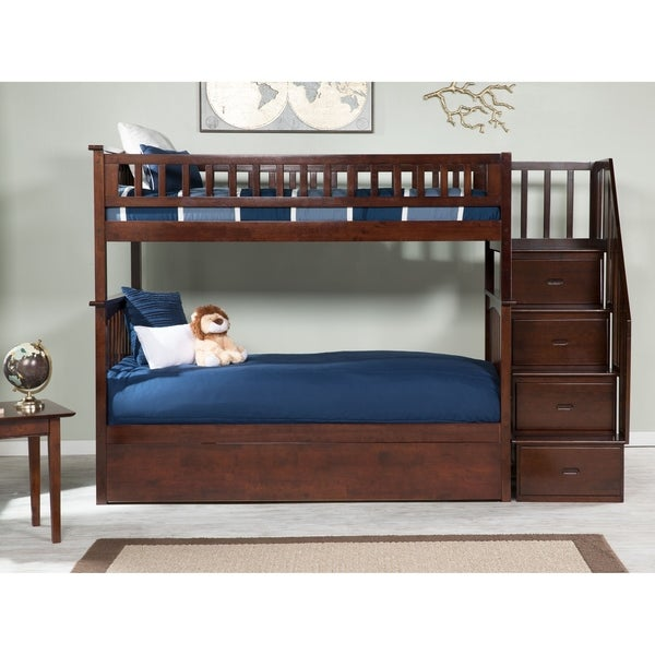 Columbia Staircase Bunk Bed Twin over Twin with Twin Size Urban Trundle Bed in Walnut