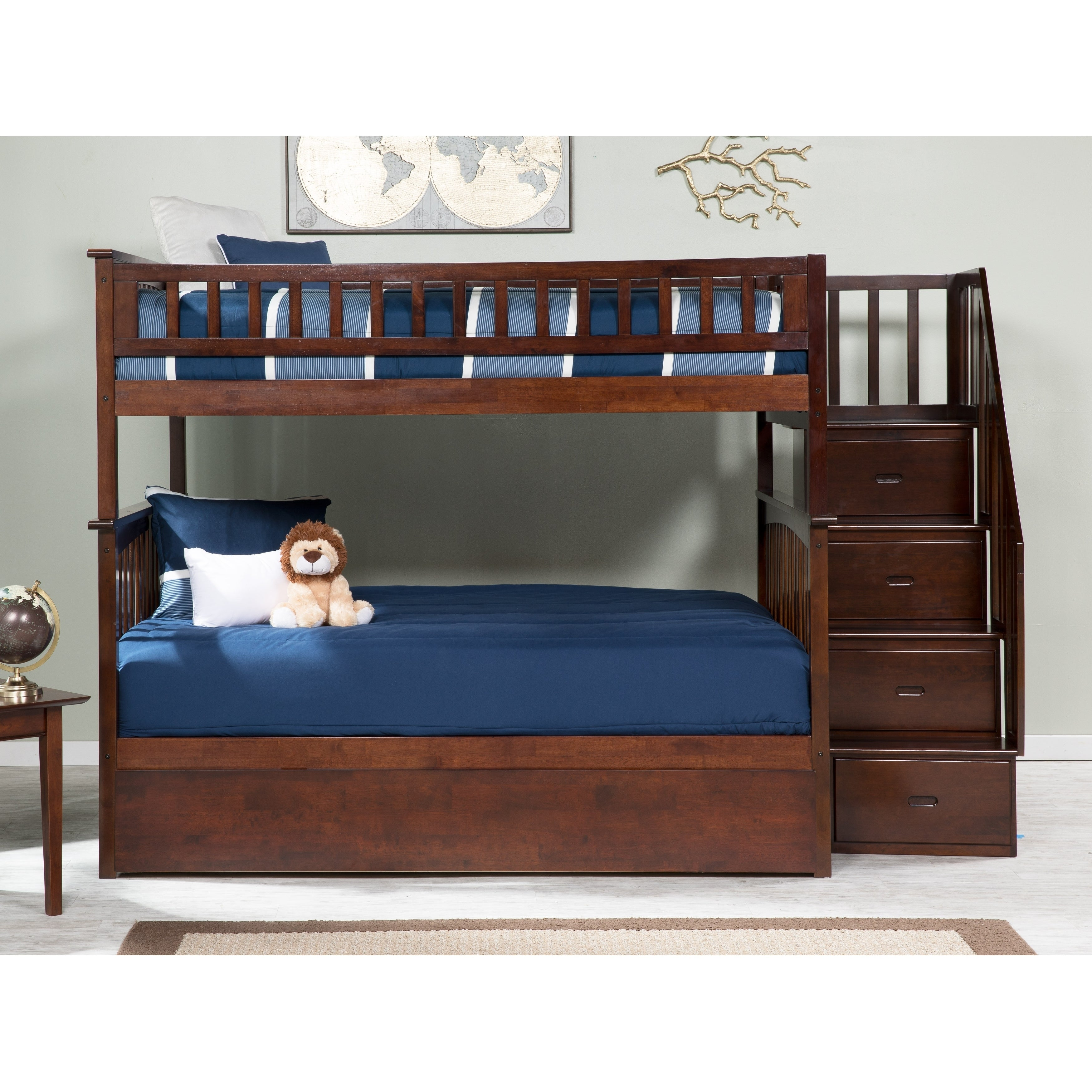 Picture of: Columbia Staircase Bunk Bed Full Over Full With Twin Size Urban Trundle Bed In Walnut Overstock 24148356