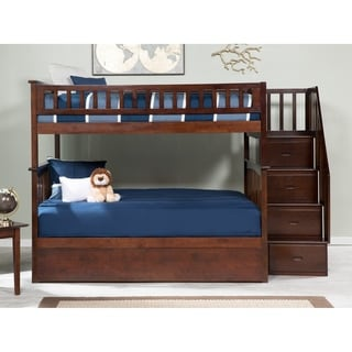 Columbia Staircase Bunk Bed Full over Full with Twin Size Urban Trundle Bed in Walnut