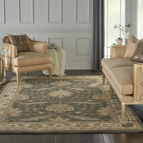 """Nourison India House Charcoal Ivory Traditional Area Rug - 6'6"""" x 9'6"""""""