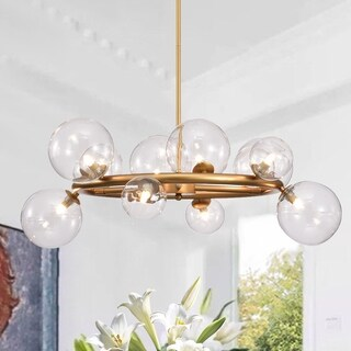Arroyo 28-inch Gold Finish Clear Glass Globe Chandelier (bulbs included)