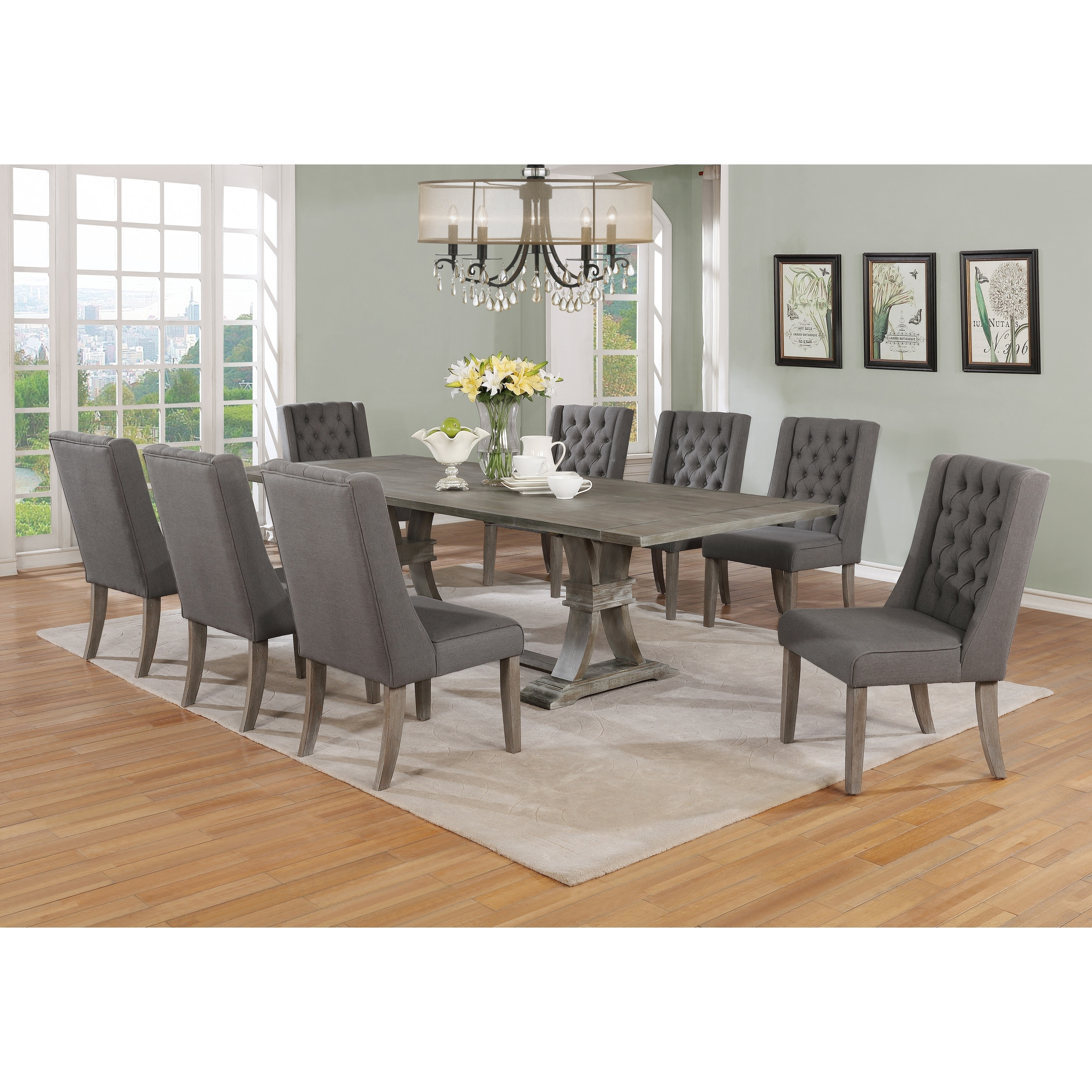 Best Quality Furniture 9 piece Rustic Extending Grey Dining Set