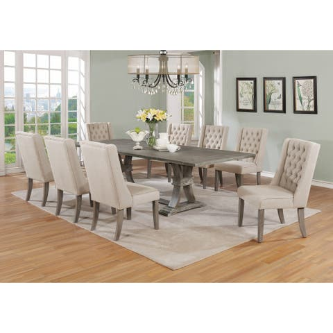 Best Quality Furniture 9-piece Rustic Extending Grey Dining Set