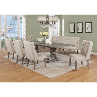 Best Quality Furniture Extending Rustic Grey 7-Piece Dining Set with Bench
