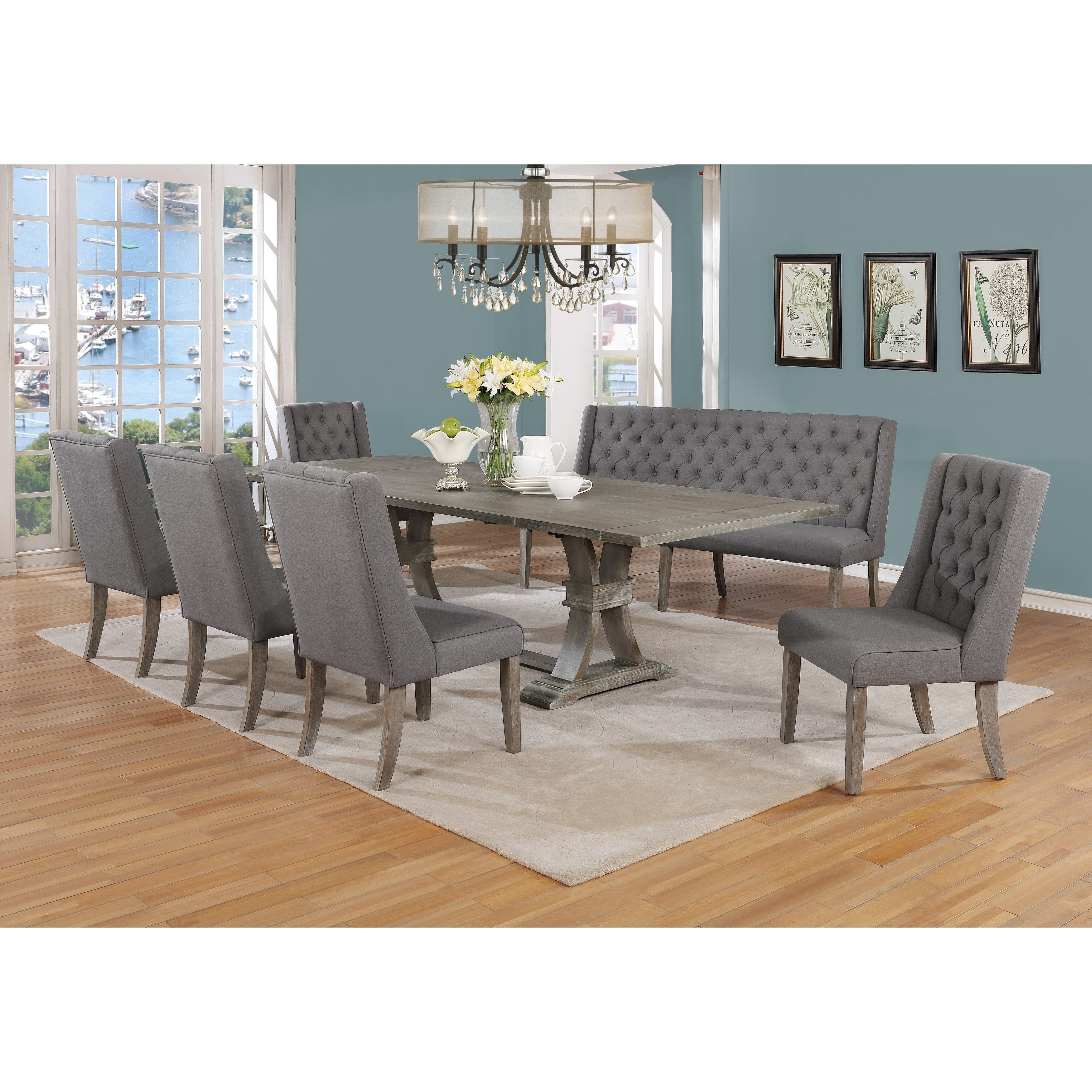 Best Quality Furniture Extending Rustic Grey 12-Piece Dining Set with Bench