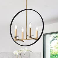 Vandor 20-inch 4-Light Gold and Black Finish Chandelier
