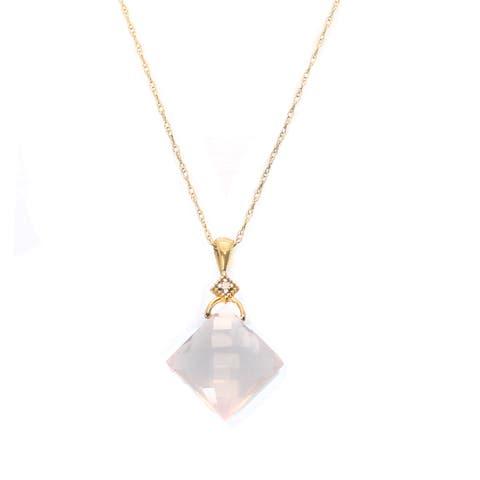 Michael Valitutti 14K Rose Quartz & Diamond Pendant