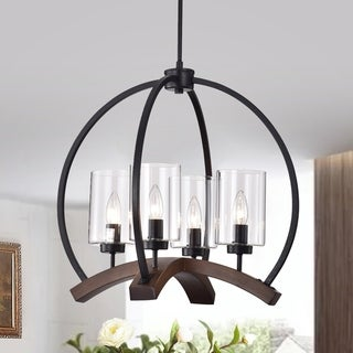 Arden 22-inch Matte Black and Brown Finish Caged Chandelier
