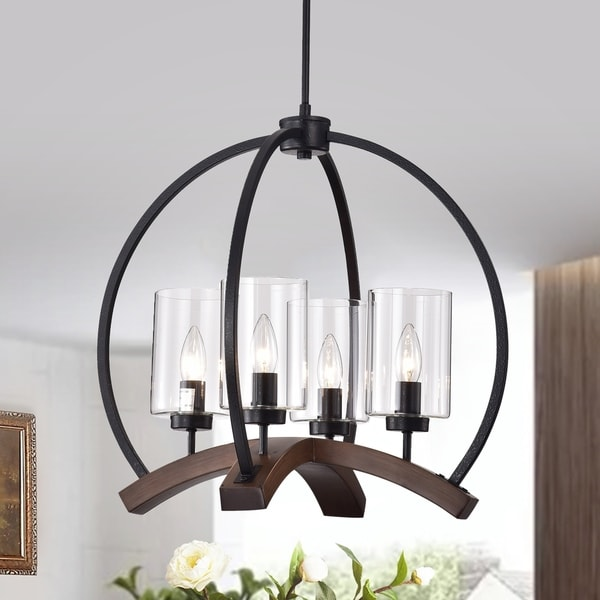 Arden 22-inch Matte Black and Brown Finish Caged Chandelier. Opens flyout.