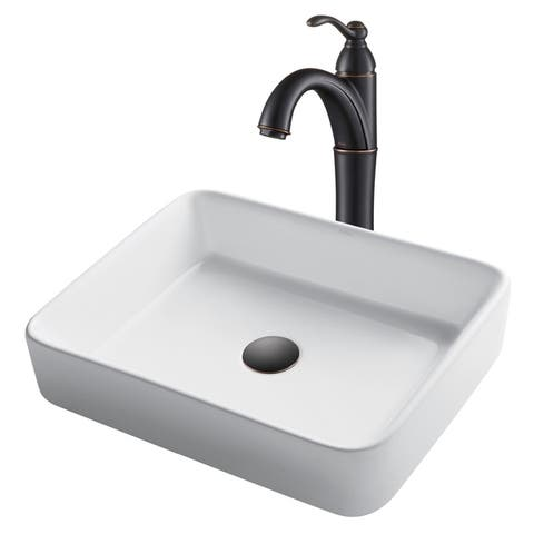 Kraus 3-in-1 Bathroom Set C-KCV-121-1005 White Ceramic Rectangle Vessel Sink, Riviera 1-Hole Faucet, PU Drain, 3 finish