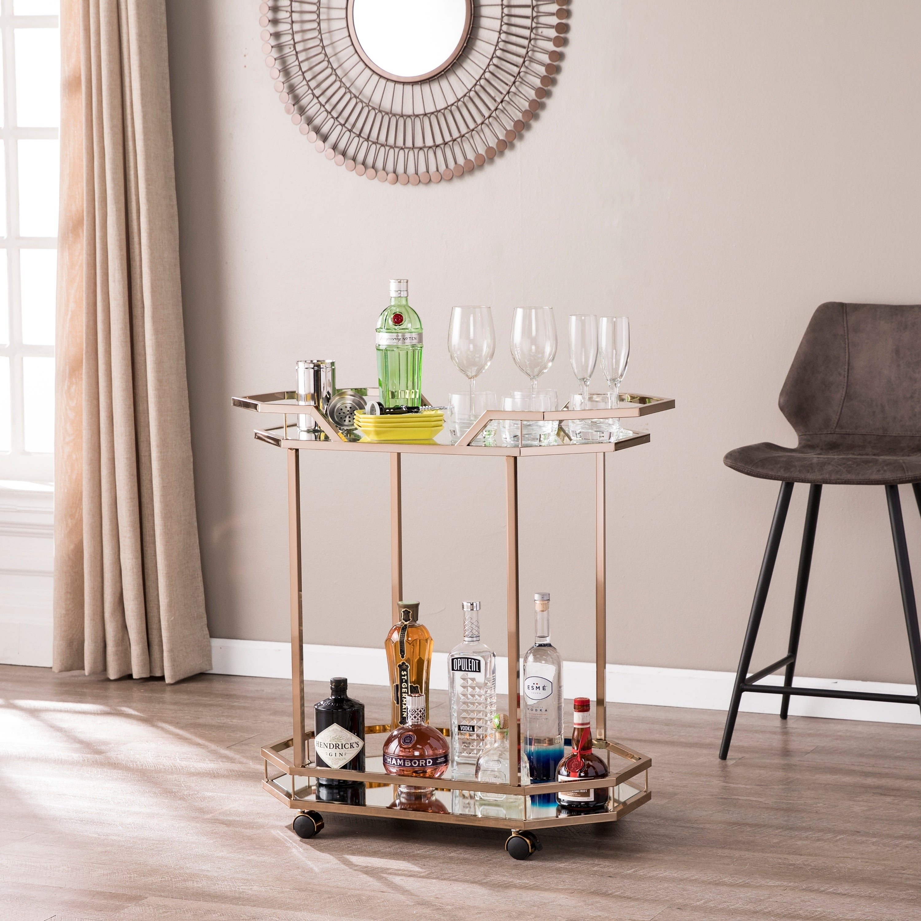 Areida Champagne Gold Oval Metal Bar Cart On Sale Overstock 24148755