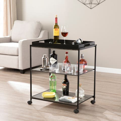 Carbon Loft Meadmore Mobile Serving Bar Cart with Shelves