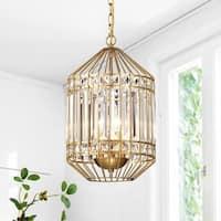 Kou 12-inch 3-Light Polished Brass Cylindrical Caged Pendant Lamp