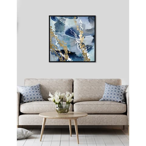 Oliver Gal 'Even More Love' Abstract Framed Wall Art Print - Blue, Gold