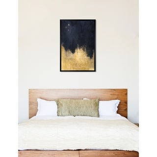Oliver Gal 'Stars in the Night' Abstract Framed Wall Art Print - navy blue, gold