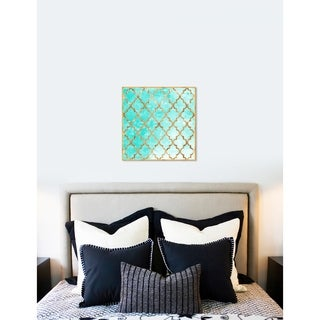 Oliver Gal 'Arabesque Turquoise and Gold' Abstract Framed Wall Art Print - teal, gold