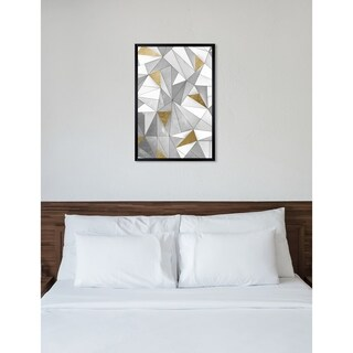 Oliver Gal 'Triangular Wall' Abstract Framed Wall Art Print - gray, gold