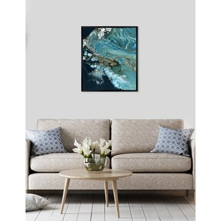 Oliver Gal 'Inlet' Abstract Framed Wall Art Print - blue, teal