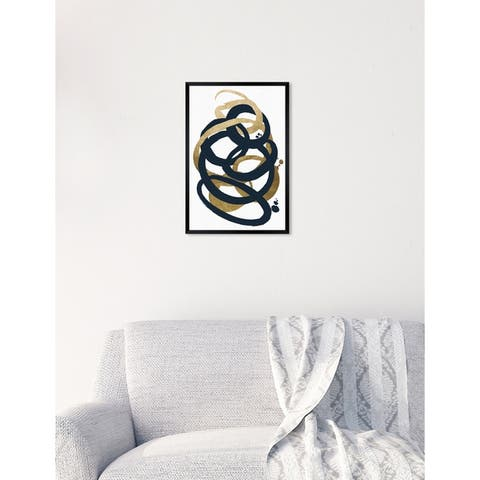 Oliver Gal 'Formas Indigo and Gold' Abstract Framed Wall Art Print