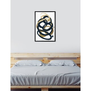 Oliver Gal 'Formas Indigo and Gold' Abstract Framed Wall Art Print - gold, black