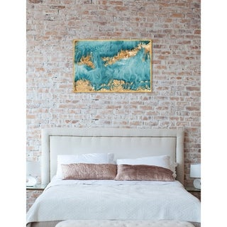 Oliver Gal 'Amada Mia' Abstract Framed Wall Art Print - Blue, Gold