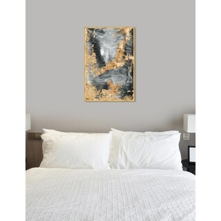 Oliver Gal 'Technically' Abstract Framed Wall Art Print - gray, gold