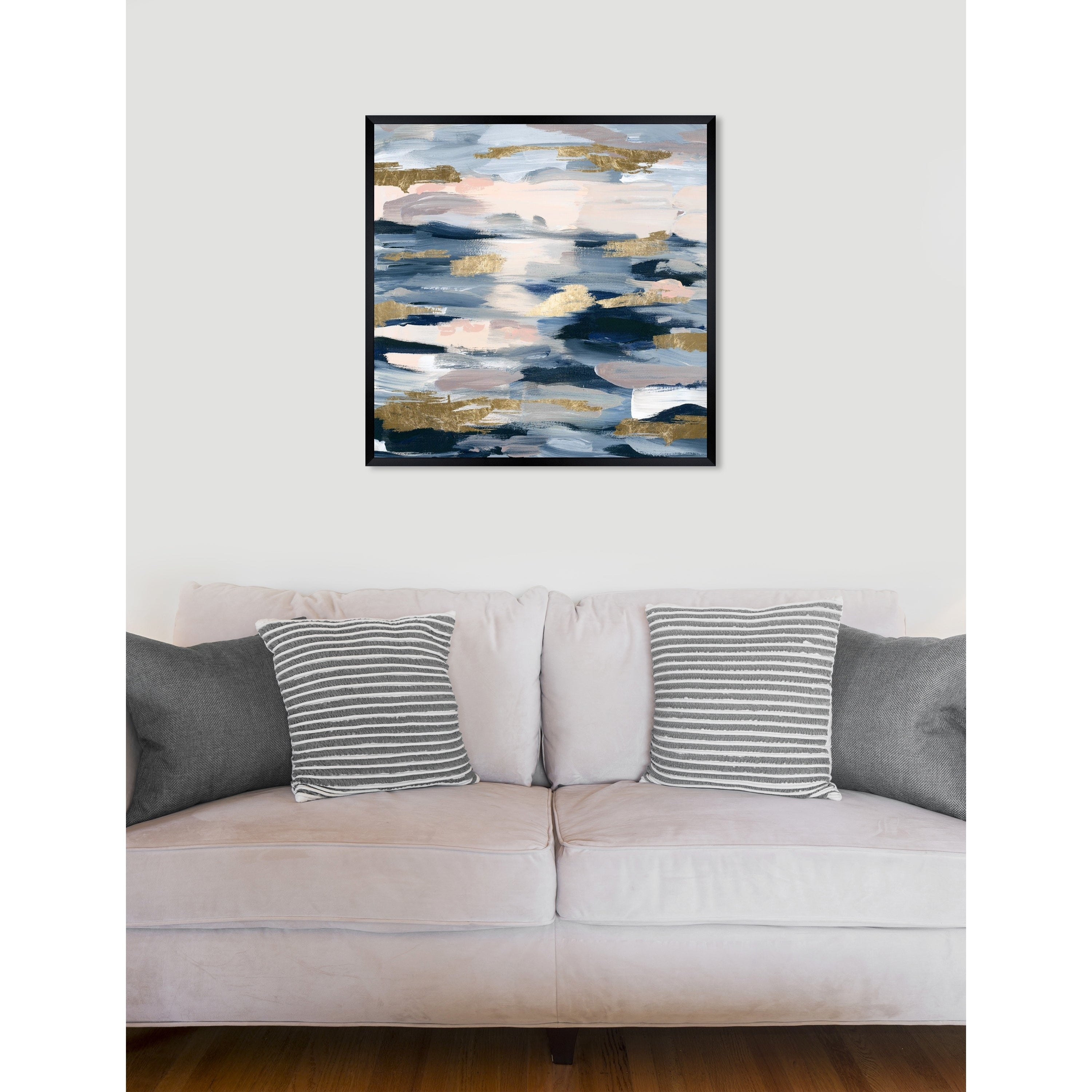 Oliver Gal Smoke On The Water Abstract Framed Wall Art Print Blue Gold