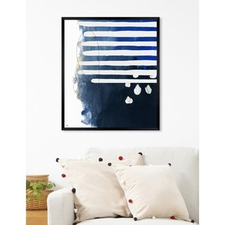 Oliver Gal 'Oceanico' Abstract Framed Wall Art Print - navy blue, white
