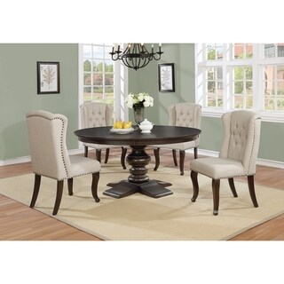 Best Quality Furniture Round Cappuccino 5-Piece Dining Set