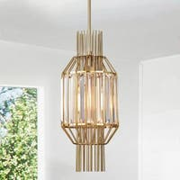 Aes 8-inch 1-Light Polish Brass Caged Pendant Lamp
