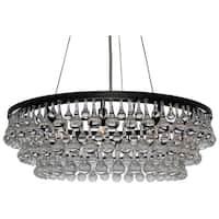 Celeste 10-light Glass and Crystal Chandelier - 32in Diameter - Black
