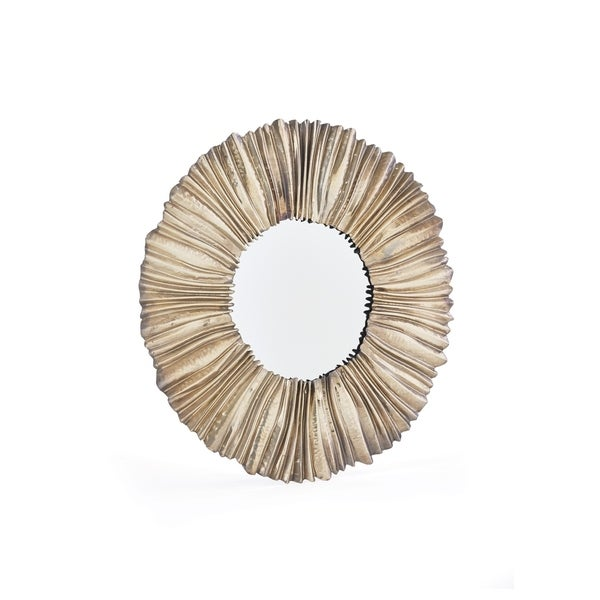 Derby Light Brown Metal and Glass Sunburst Mirror