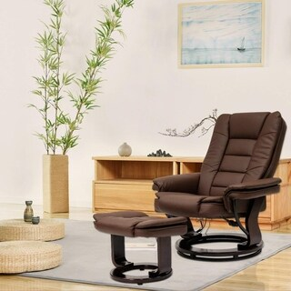 Kinbor 8 Motor Massage Chair Recliner with Ottoman & Lumbar Heat