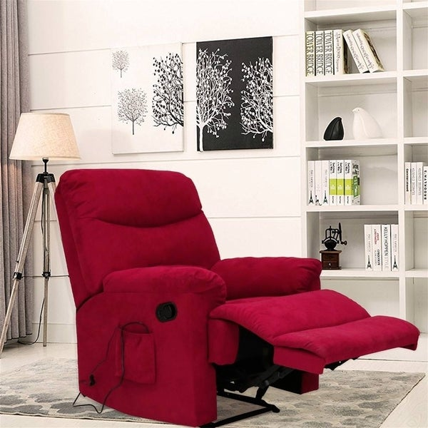 Kinbor Suede Heated Mage Chair Recliner Sofa Ergonomic Lounge With 8 Vibration Motors
