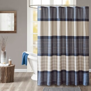 Woolrich Flagship Blue/ Grey Cotton Printed Plaid Shower Curtain